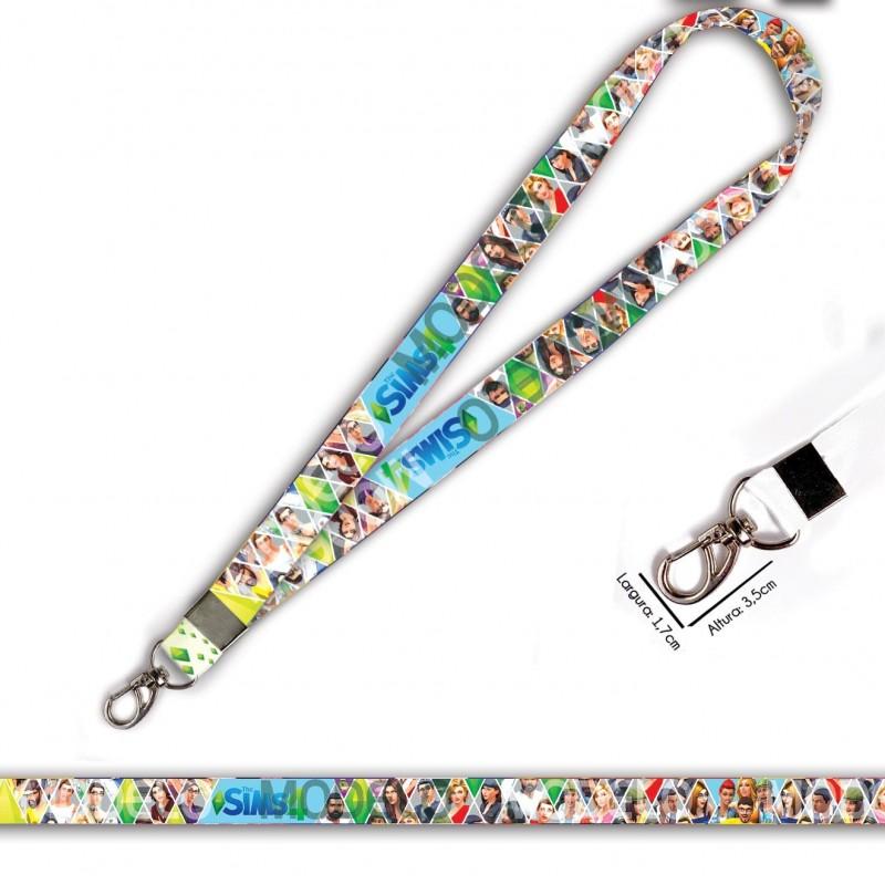 Cordão para Crachá ou Chaveiro Princesa também usam Capacete C0566P com Mosquetão e Fecho Bolsa (Engate Rápido)