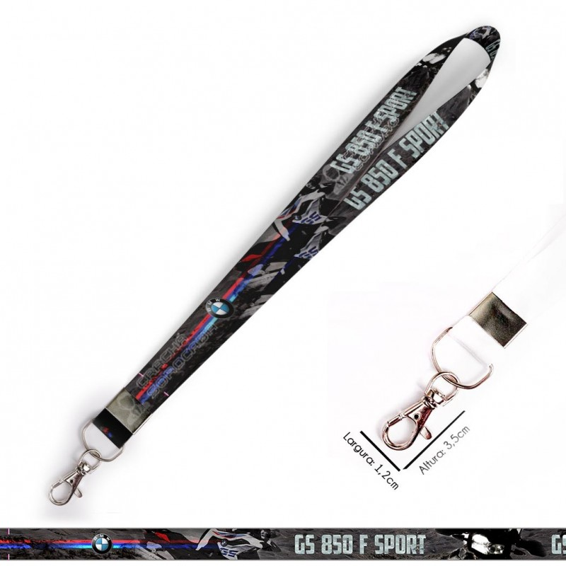Cordão para Crachá ou Chaveiro Kawasaki Ninja C0490P com Mosquete Giratório