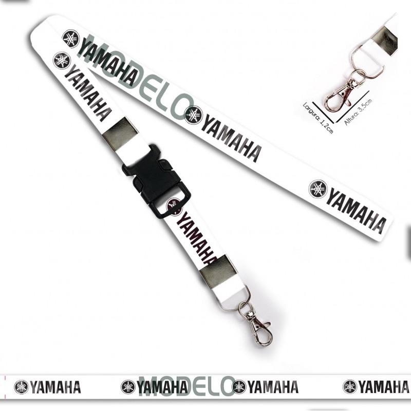 Chaveiro Yamaha Branco e Preto C0661P com Mosquete e Engate