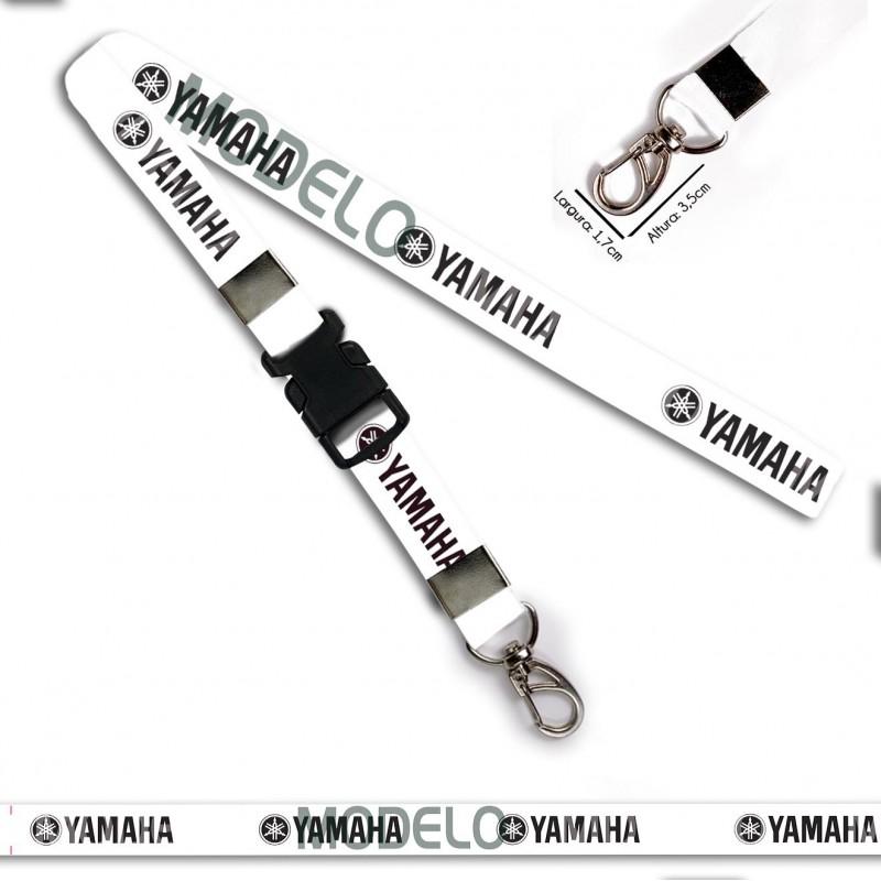Chaveiro Yamaha Branco e Preto C0661P com Mosquetão e Engate