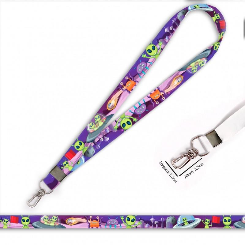 Cordão para Crachá ou Chaveiro Hello Kitty C0054P com Mosquete Giratório e Fecho Bolsa (Engate Rápido)
