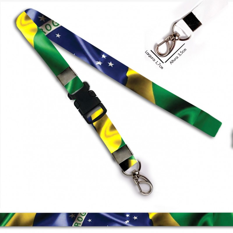 Chaveiro Bandeira Brasil C0688P com Mosquetão e Engate