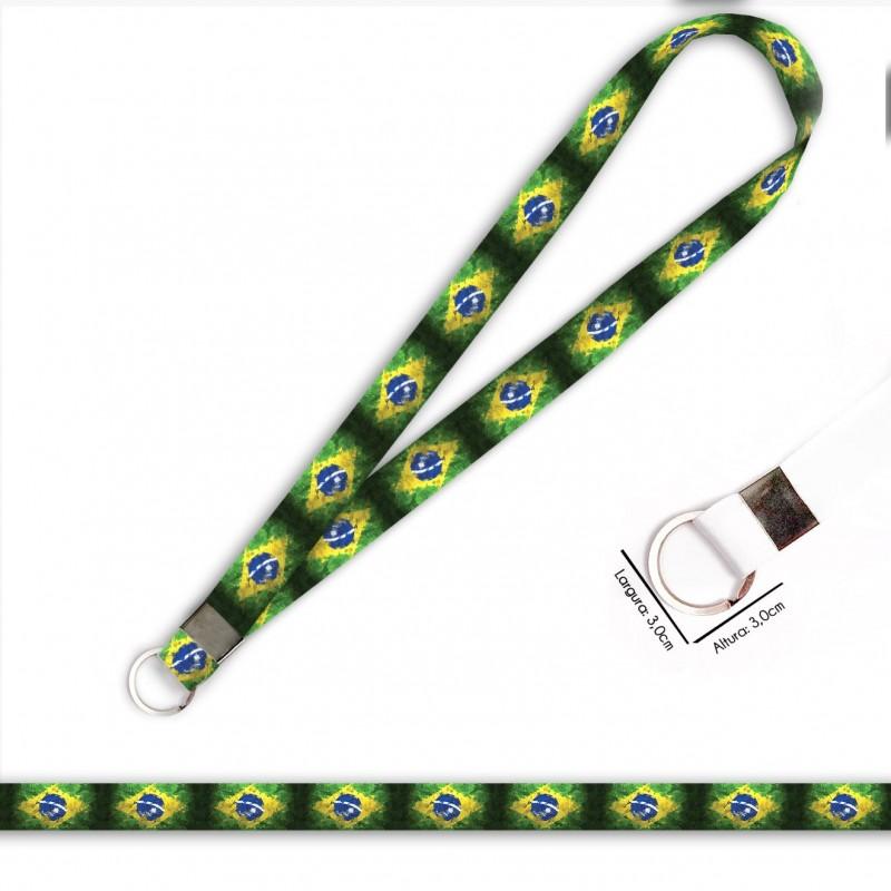 Cordão Bandeira Brasil C0689P com Argola Italiana