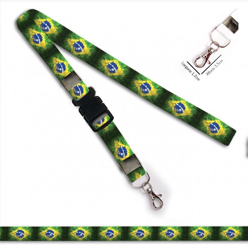 Chaveiro Bandeira Brasil C0689P com Mosquete e Engate Rápido