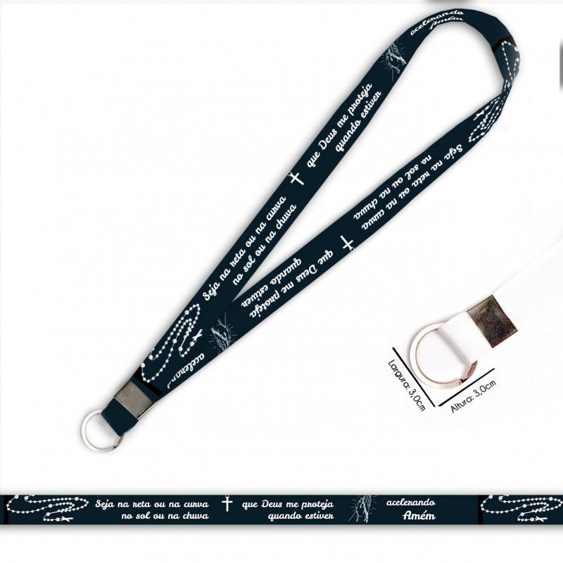 Cordão para Crachá ou Chaveiro Shazam C0133P com Mosquete Giratório e Fecho Bolsa (Engate Rápido)