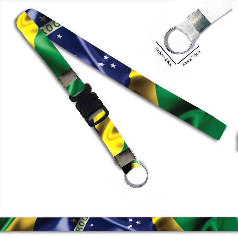Bandeira Brasil C0688P Cordão, Chaveiro Moto Argola Engate