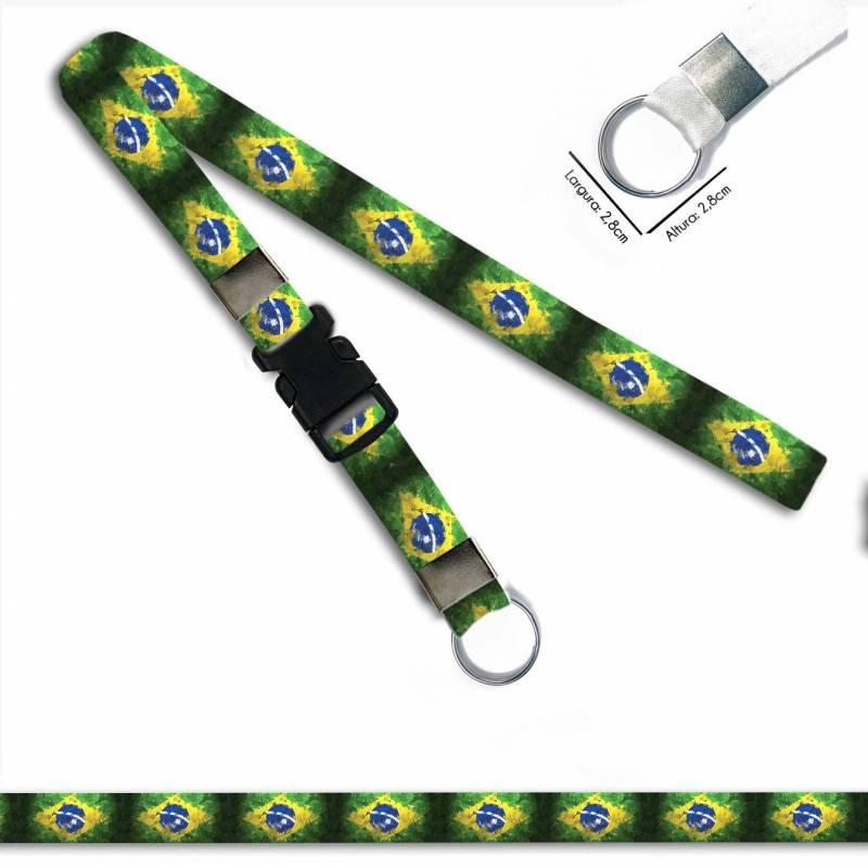 Bandeira Brasil C0689P Cordão, Chaveiro Moto Argola Engate