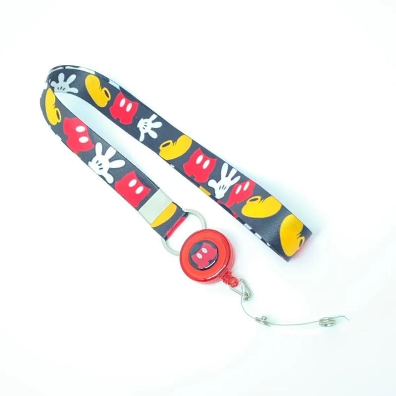 Cordão Mickey Divertido com Roller Clip Personalizado Vermelho