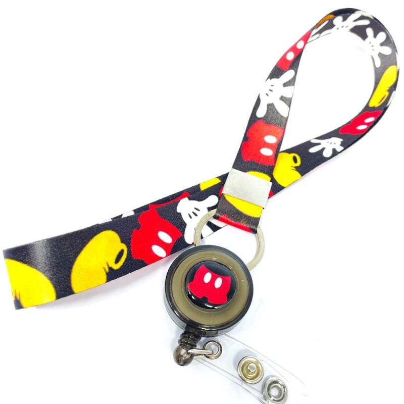 Cordão Mickey Divertido com Roller Clip Personalizado Preto