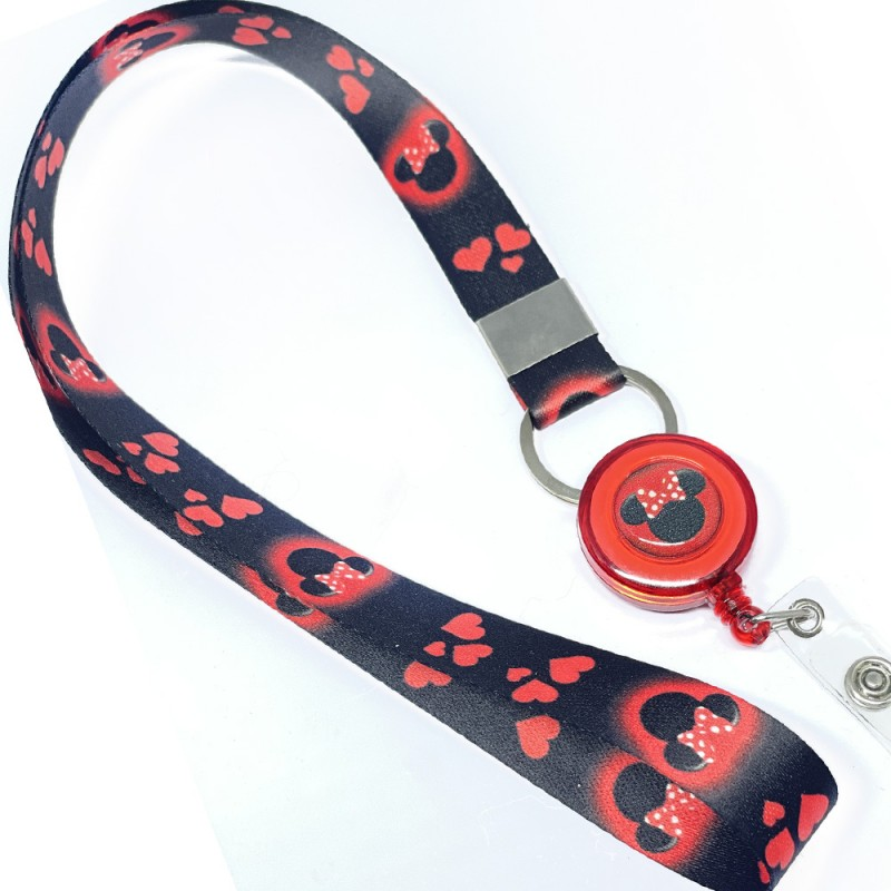 Cordão Minnie com Roller Clip Personalizado Vermelho