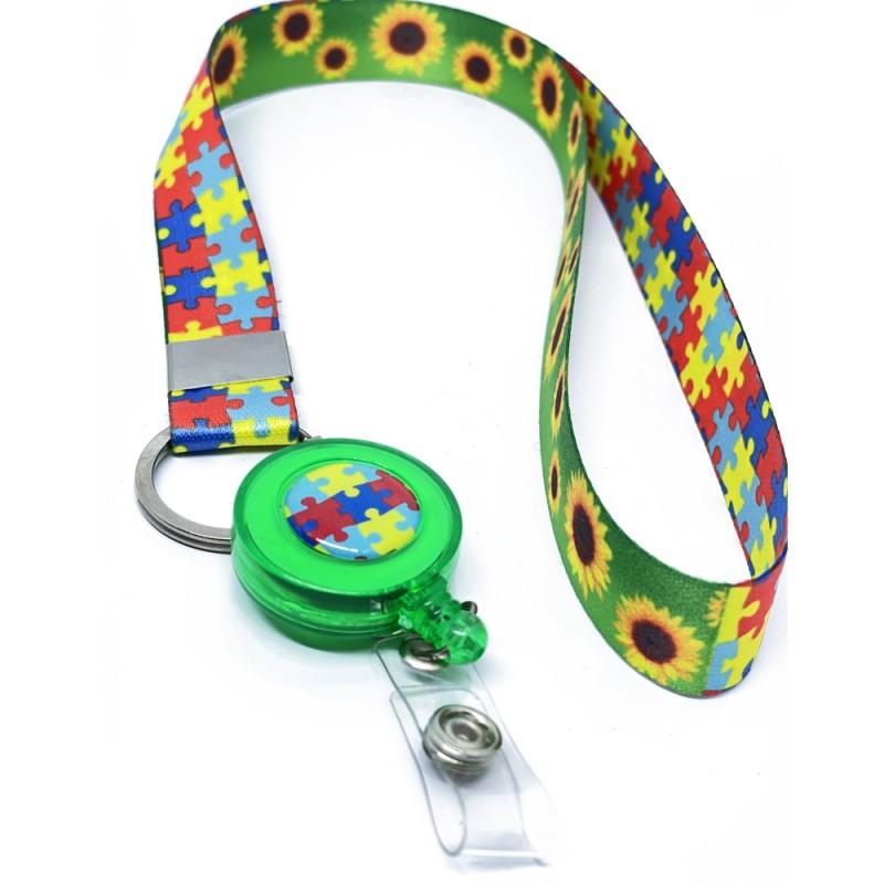 Cordão Quebra Cabeças e Girassol com Roller Clip Personalizado