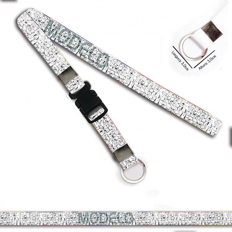 Cordão para Crachá Minnie C0115P com Garra Tipo Jacaré