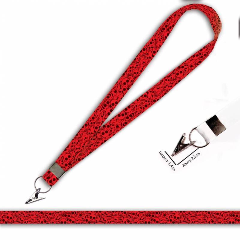 Cordão para Crachá ou Chaveiro Pantera Cor de Rosa C0023P com Argola Italiana Prata