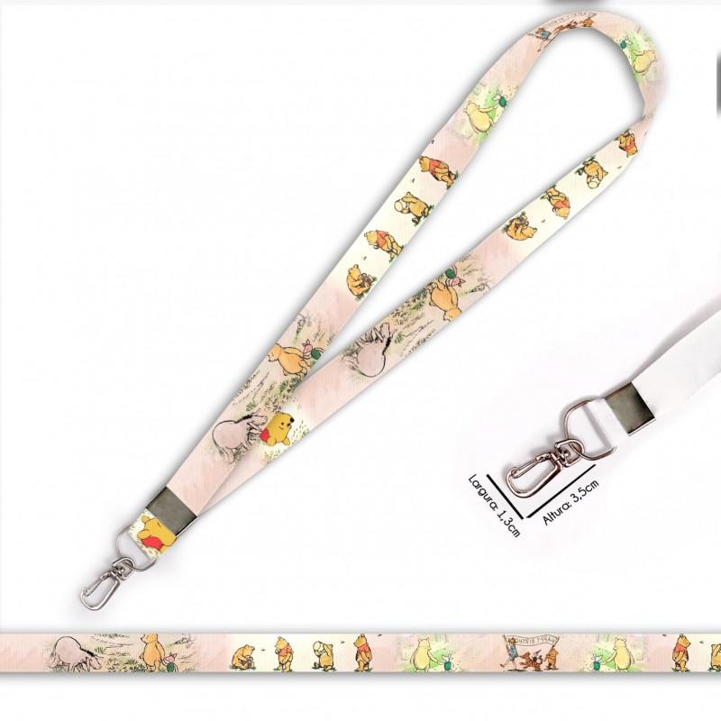 Cordão para Crachá ou Chaveiro Borboletas C0442P com Mosquetão