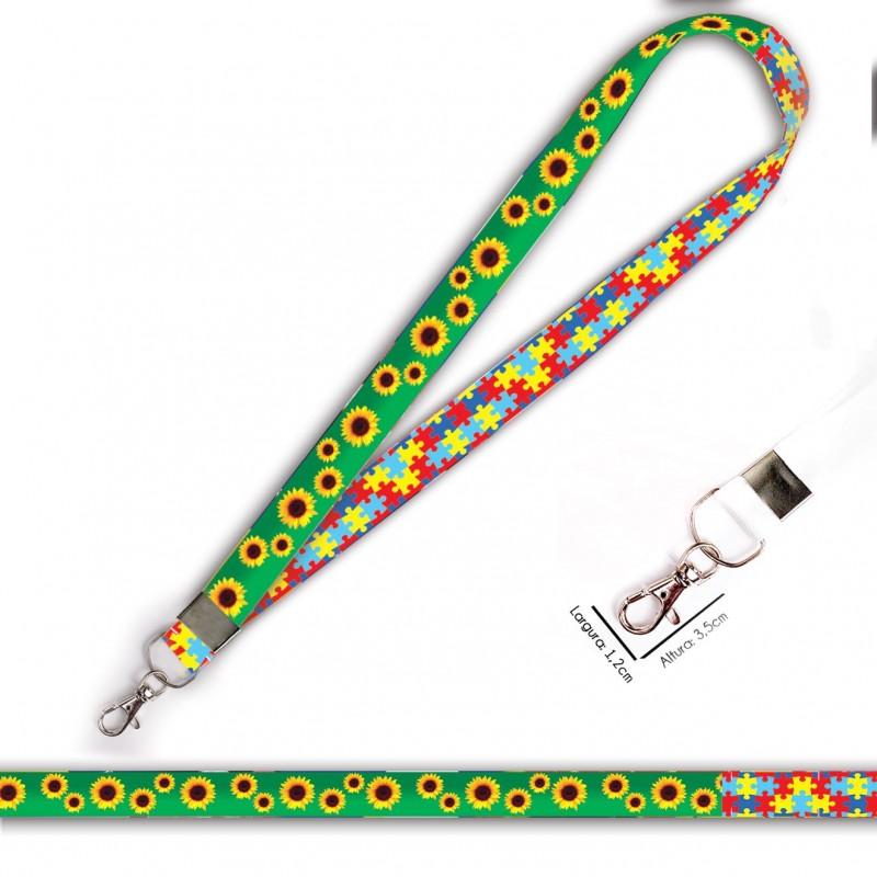 Cordão para Crachá ou Chaveiro Psicanalise C0179P com Mosquetão e Fecho Bolsa (Engate Rápido)