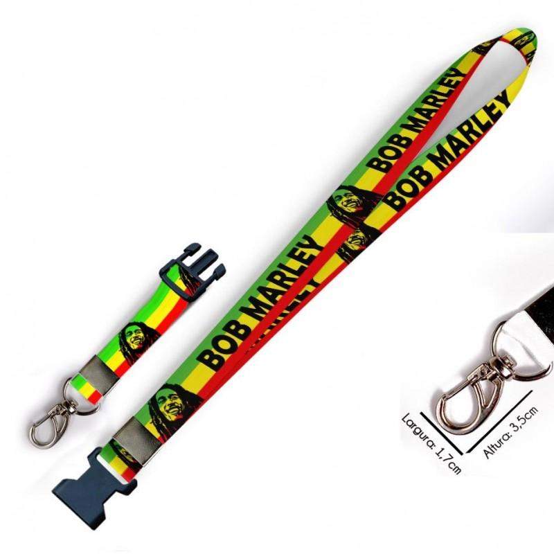 Chaveiro Bob Marley C0487P com Mosquetão e Engate Rápido