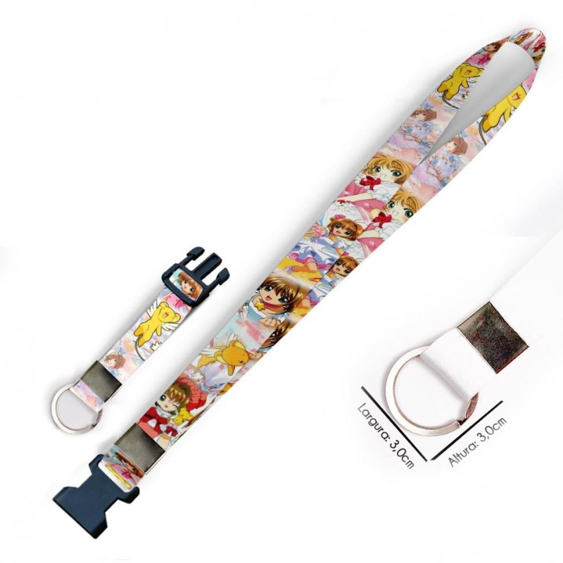 Cordão para Crachá ou Chaveiro Tinker Bell Sininho e Amigos C0356P com Mosquetão e Fecho Bolsa (Engate Rápido)